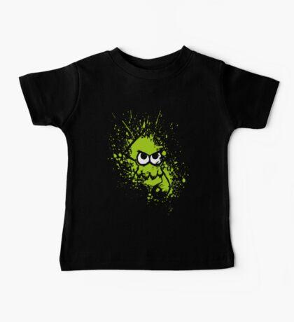Splatoon Black Squid with Blank Eyes on Green Splatter Mask Baby Tee