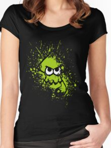 Splatoon Black Squid with Blank Eyes on Green Splatter Mask Women's Fitted Scoop T-Shirt
