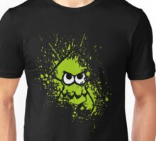 Splatoon Black Squid with Blank Eyes on Green Splatter Mask Unisex T-Shirt