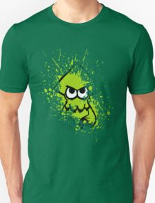 Splatoon Black Squid with Blank Eyes on Green Splatter Mask T-Shirt
