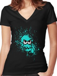 Splatoon Black Squid with Blank Eyes on Cyan Splatter Mask Women's Fitted V-Neck T-Shirt