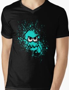 Splatoon Black Squid with Blank Eyes on Cyan Splatter Mask Mens V-Neck T-Shirt