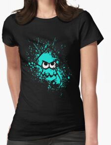 Splatoon Black Squid with Blank Eyes on Cyan Splatter Mask Womens Fitted T-Shirt