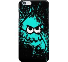 Splatoon Black Squid with Blank Eyes on Cyan Splatter Mask iPhone Case/Skin