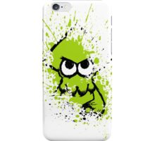 Splatoon Black Squid with Blank Eyes on Green Splatter Mask White Version iPhone Case/Skin