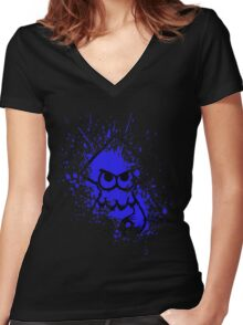 Splatoon Black Squid on Blue Splatter Mask Women's Fitted V-Neck T-Shirt