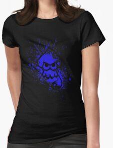 Splatoon Black Squid on Blue Splatter Mask Womens Fitted T-Shirt