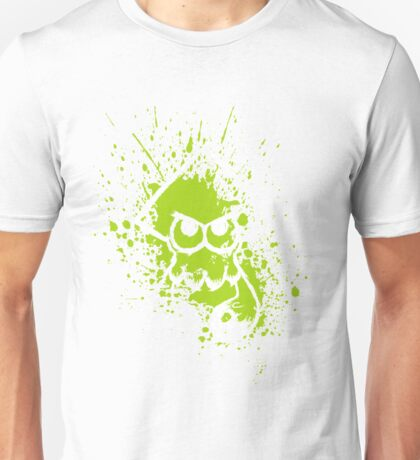 Splatoon White Squid on Green Splatter Mask Unisex T-Shirt