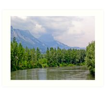 River, hills and trees Art Print