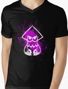 Splatoon White Squid on Purple Splatter Mens V-Neck T-Shirt