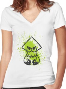 Splatoon Black Squid on Green Splatter Women's Fitted V-Neck T-Shirt