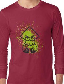 Splatoon Black Squid on Green Splatter Long Sleeve T-Shirt