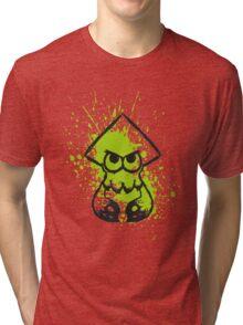 Splatoon Black Squid on Green Splatter Tri-blend T-Shirt
