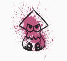 Splatoon Black Squid on Pink Splatter Kids Tee