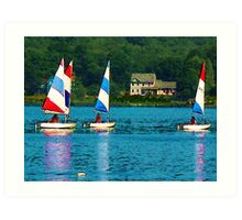 Striped Sails at Mystic, Connecticut Art Print