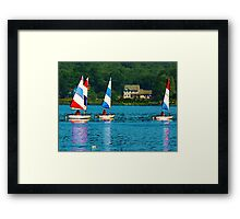 Striped Sails at Mystic, Connecticut Framed Print