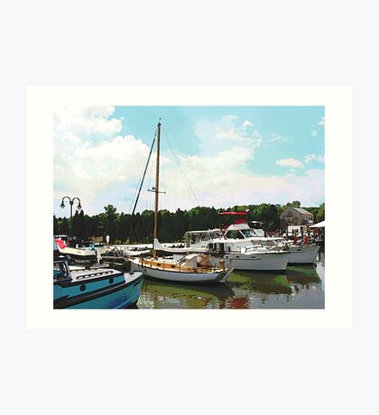 Tuckerton Seaport Docked Cabin Cruisers Art Print
