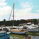 Tuckerton Seaport Docked Cabin Cruisers by Susan Savad