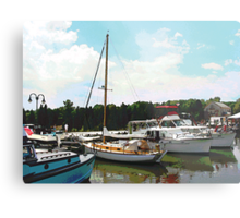 Tuckerton Seaport Docked Cabin Cruisers Metal Print