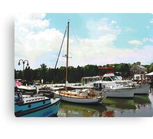 Tuckerton Seaport Docked Cabin Cruisers Canvas Print