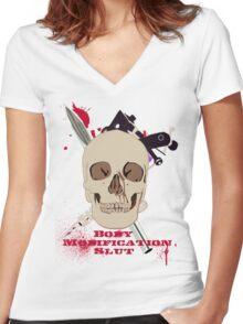 Body Modification Slut Women's Fitted V-Neck T-Shirt
