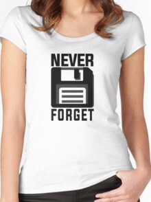 Never forget - stiffy floppy disc disk Women's Fitted Scoop T-Shirt