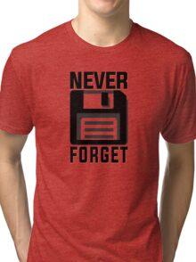 Never forget - stiffy floppy disc disk Tri-blend T-Shirt