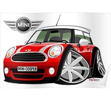 Mini Cooper BMW caricature red Poster