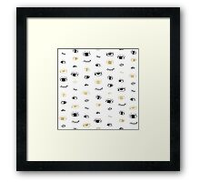 Funny fashion gold and black cute eyes pattern Framed Print