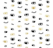 Funny fashion gold and black cute eyes pattern Photographic Print