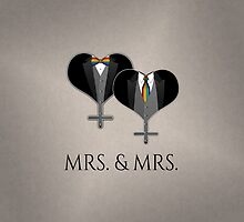 Mrs. Tuxedo Hearts Tie and Bow Tie by LiveLoudGraphic