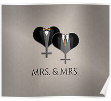Mrs. Tuxedo Hearts Tie and Bow Tie Poster