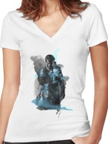 Uncharted 4 - Nathan Drake Design Women's Fitted V-Neck T-Shirt
