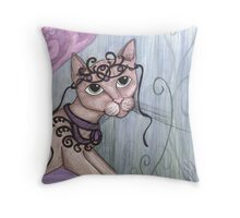 Simone, Fantasy big eyes Faerie Cat Throw Pillow