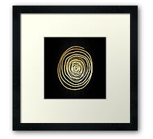 Painted Spiral Swirl in Faux Sparkly Gold on Black Framed Print