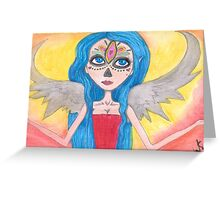 blue haired Angel art Greeting Card