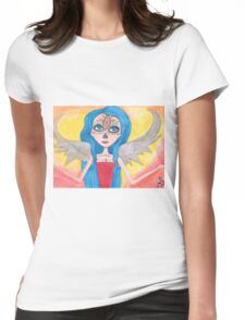 blue haired Angel art Womens Fitted T-Shirt