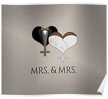Mrs. Dress and Tux Hearts Bow Tie Poster