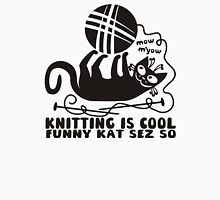 Black white knitting is cool funny derpy cat says so Womens T-Shirt