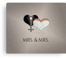 Mrs. Dress and Tux Hearts Bow Tie Canvas Print