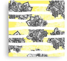 Modern black white floral lace bright yellow floor Canvas Print