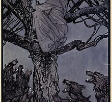 Irish Fairy Tales by James Stephans art by Arthur Rackham 1920 0193 She Looked in Angry Woe at the Straining and Snarling Horde Below by wetdryvac