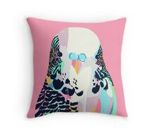 Budgerigar Pink Throw Pillow