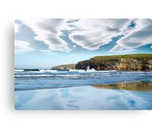 reflection of cliffs and clouds Canvas Print