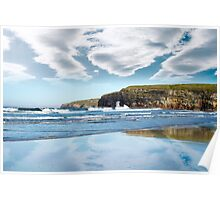 reflection of cliffs and clouds Poster
