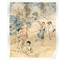 The Springtide of Life Poems of Childhood by Algernon Charles Swinburne art Arthur Rackham 1918 0163 Playing Poster
