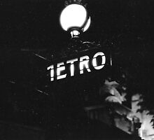 Metro Sign Paris Night by Gordon Lukesh