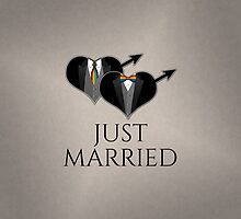 Just Married Tuxedo Heart Tie and Bow Tie by LiveLoudGraphic