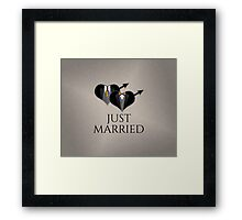 Just Married Tuxedo Heart Tie and Bow Tie Framed Print