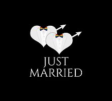 Just Married Tuxedo Heart Bow Tie by LiveLoudGraphic